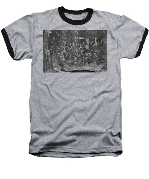Baseball T-Shirt featuring the photograph Chaco Canyon Petroglyphs Black And White by Adam Jewell
