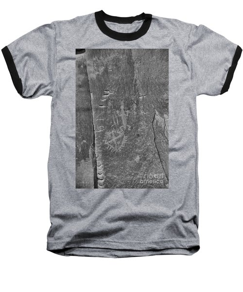 Baseball T-Shirt featuring the photograph Chaco Petroglyph Figures Black And White by Adam Jewell