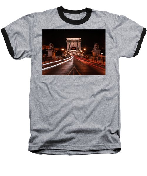 Chain Bridge At Midnight Baseball T-Shirt by Jaroslaw Blaminsky