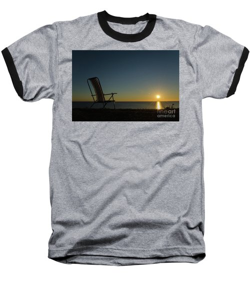 Baseball T-Shirt featuring the photograph Chair By The Setting Sun by Kennerth and Birgitta Kullman
