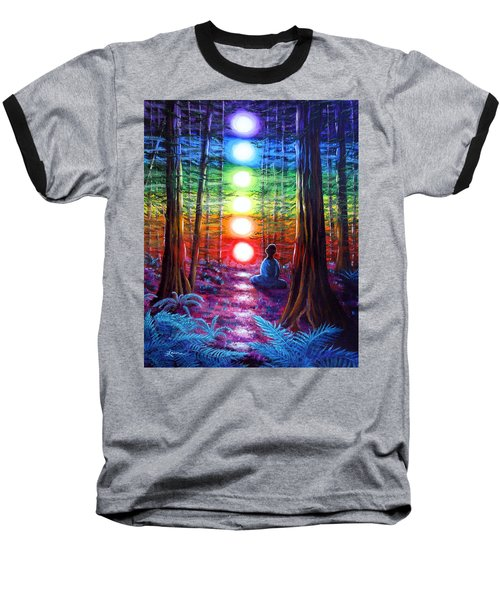 Chakra Meditation In The Redwoods Baseball T-Shirt by Laura Iverson