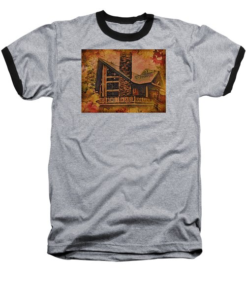 Baseball T-Shirt featuring the digital art Chalet In Autumn by Kathy Kelly
