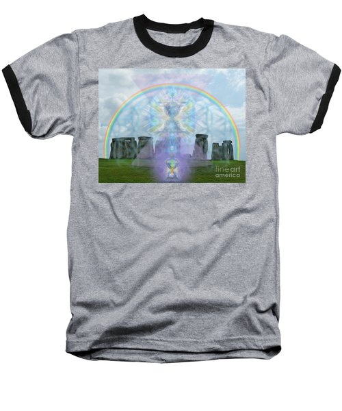 Chalice Over Stonehenge In Flower Of Life And Man Baseball T-Shirt by Christopher Pringer
