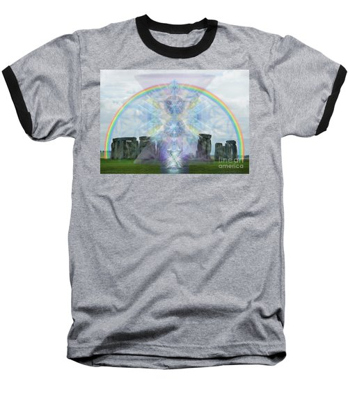 Chalice Over Stonehenge In Flower Of Life Baseball T-Shirt by Christopher Pringer