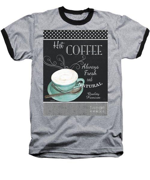 Baseball T-Shirt featuring the painting Chalkboard Retro Coffee Shop 1 by Debbie DeWitt