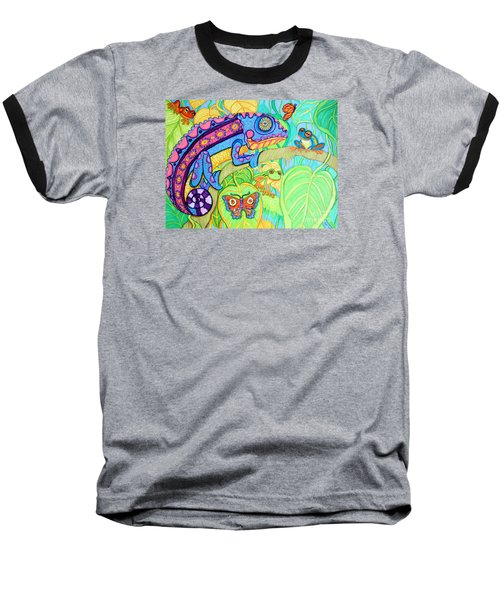 Chamelion And Rainforest Frogs Baseball T-Shirt by Nick Gustafson