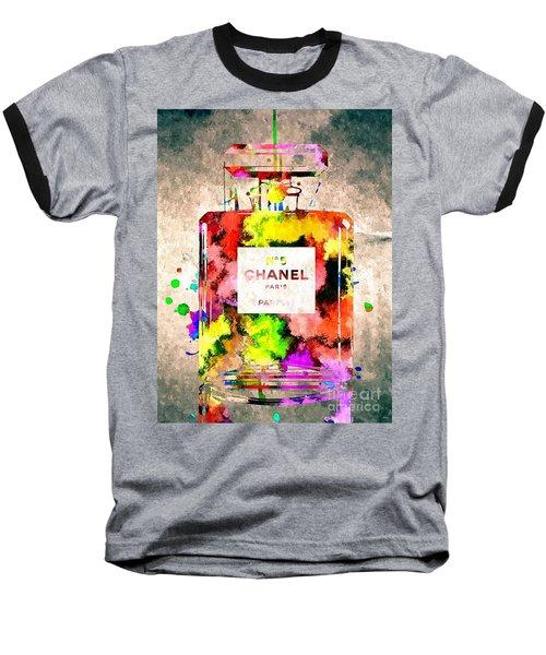 Chanel No 5 Grunge Baseball T-Shirt by Daniel Janda