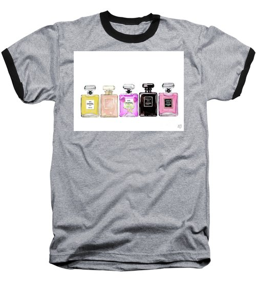 a8354ddf1 Baseball T-Shirt featuring the painting Chanel Perfume Print Set Chanel  Poster by Del Art