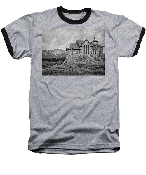 Baseball T-Shirt featuring the photograph Chapel On The Rock - Black And White by James Woody
