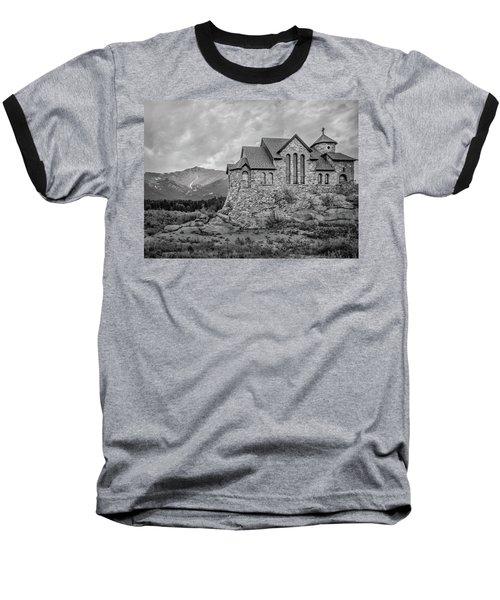 Chapel On The Rock - Black And White Baseball T-Shirt