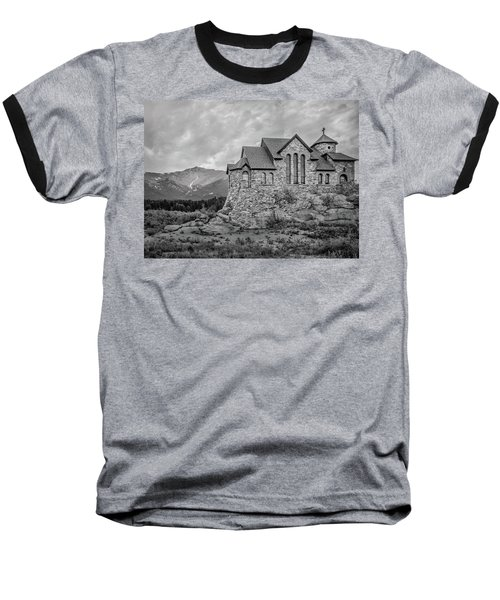 Chapel On The Rock - Black And White Baseball T-Shirt