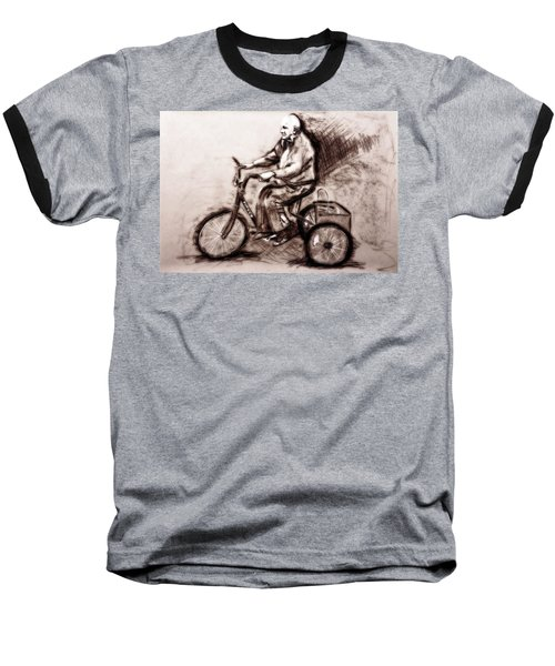 Baseball T-Shirt featuring the drawing Charcoal Drawing Of Pedal To The Metal By Ayasha Loya by Ayasha Loya