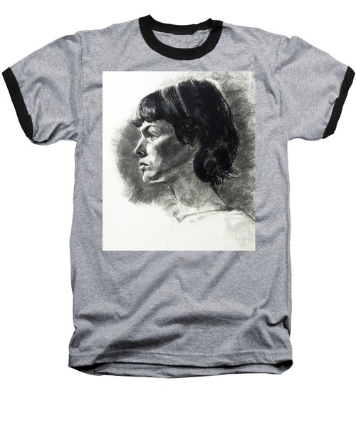 Charcoal Portrait Of A Pensive Young Woman In Profile Baseball T-Shirt