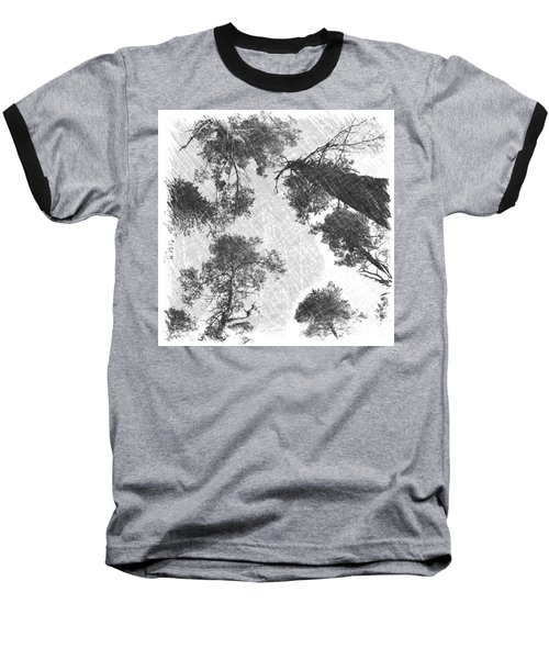 Charcoal Trees Baseball T-Shirt