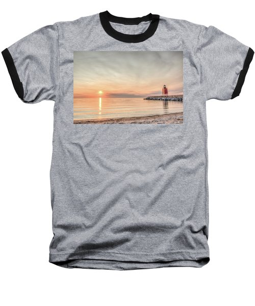 Charelvoix Lighthouse In Charlevoix, Michigan Baseball T-Shirt