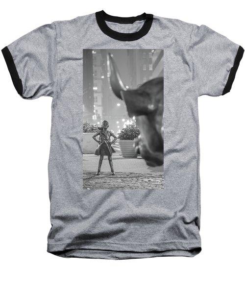 Charging Bull And Fearless Girl Nyc  Baseball T-Shirt