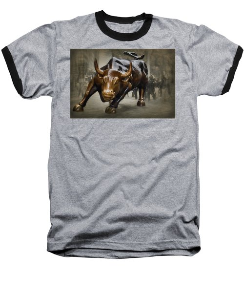Charging Bull Baseball T-Shirt by Dyle Warren