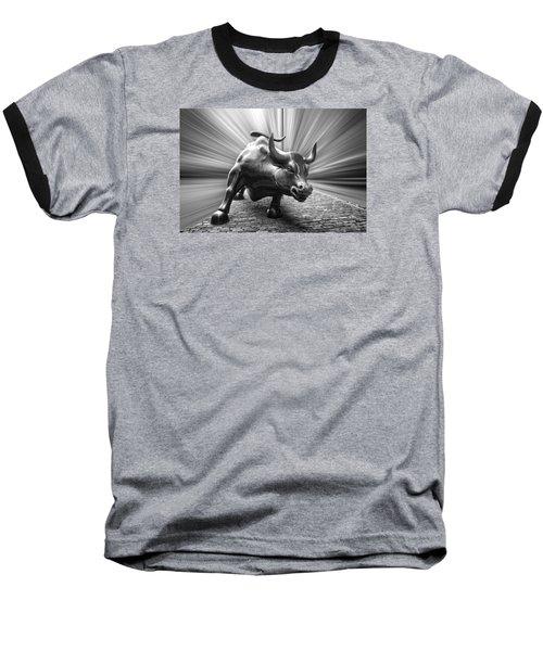 Charging Wall Street Bull B W Baseball T-Shirt