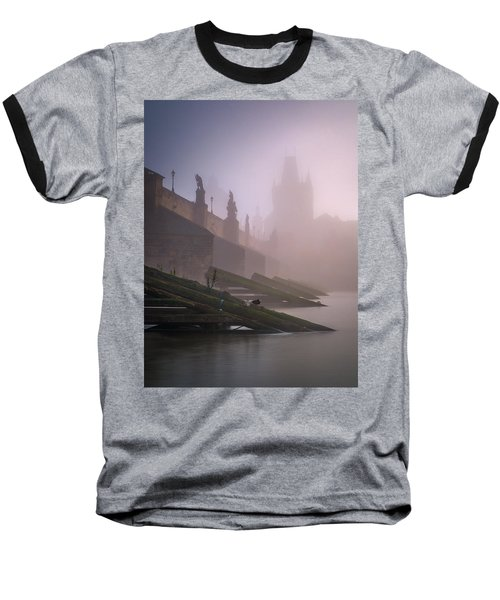 Charles Bridge At Autumn Foggy Day, Prague, Czech Republic Baseball T-Shirt