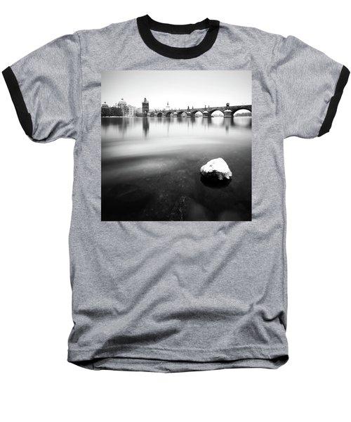 Charles Bridge During Winter Time With Frozen River, Prague, Czech Republic Baseball T-Shirt