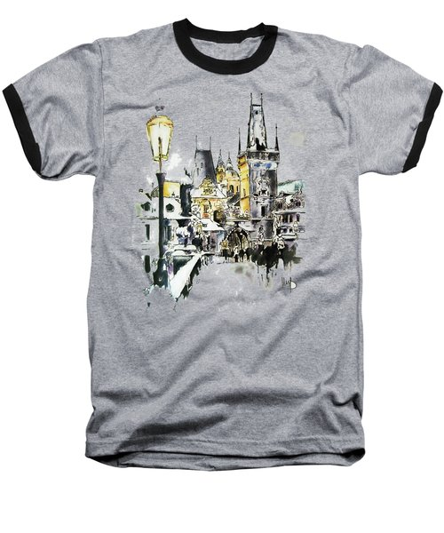 Charles Bridge In Winter Baseball T-Shirt by Melanie D