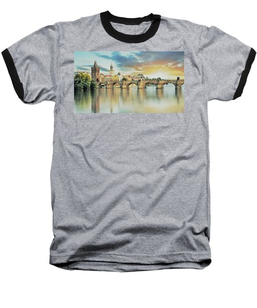 Charles Bridge Baseball T-Shirt by Maciek Froncisz