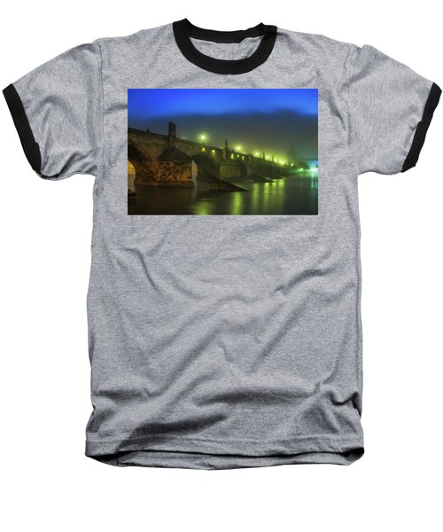 Charles Bridge Night In Prague, Czech Republic Baseball T-Shirt