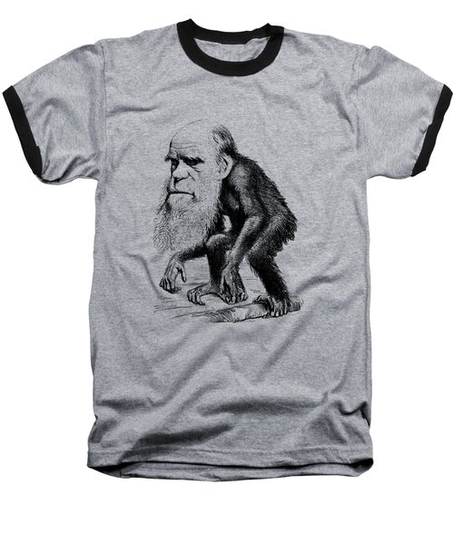 Charles Darwin As An Ape Cartoon Baseball T-Shirt by War Is Hell Store