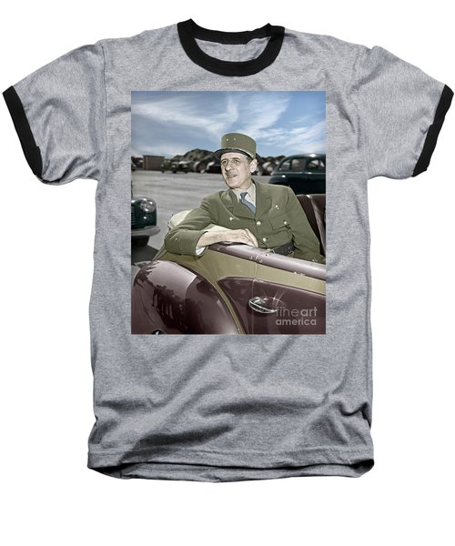 Charles De Gaulle Of France In New York Baseball T-Shirt