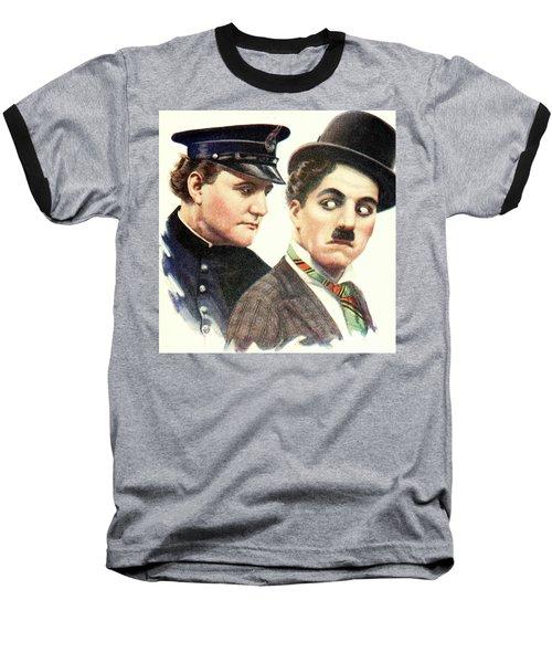 Charlie Chaplan And The Keystone Cop Baseball T-Shirt