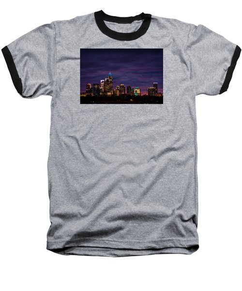 Charlotte, North Carolina Winter Sunset Baseball T-Shirt by Serge Skiba
