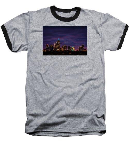 Charlotte, North Carolina Winter Sunset Baseball T-Shirt