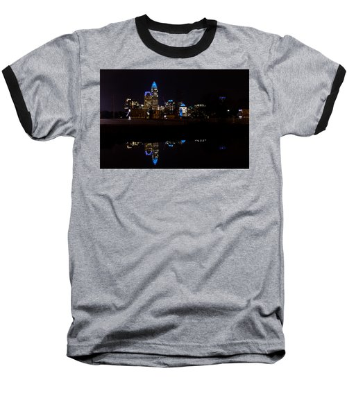 Charlotte Reflection At Night Baseball T-Shirt by Serge Skiba