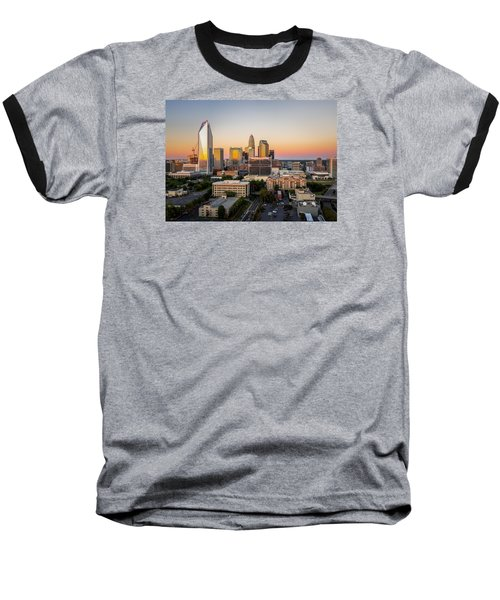 Baseball T-Shirt featuring the photograph Charlotte Skyline At Sunset by Serge Skiba