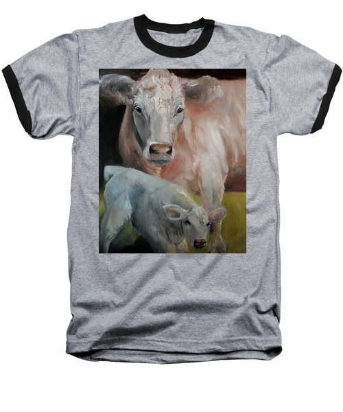 Charolais Cow Calf Painting Baseball T-Shirt by Michele Carter