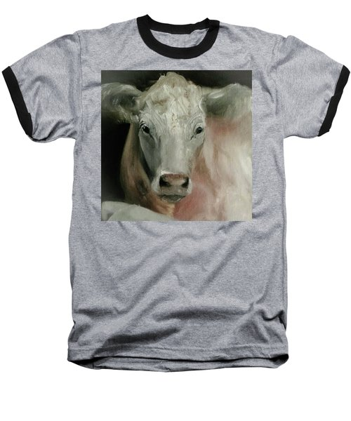 Charolais Cow Painting Baseball T-Shirt by Michele Carter