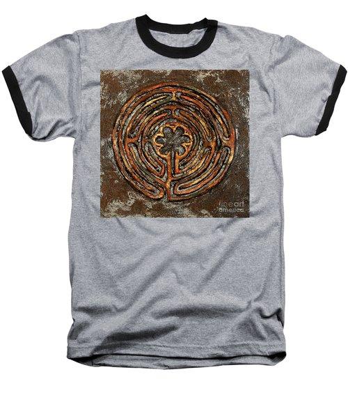 Chartres Style Labyrinth Earth Tones Baseball T-Shirt