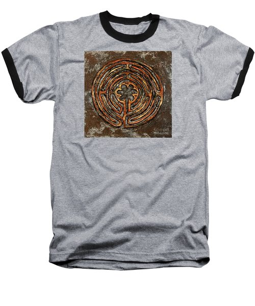 Chartres Style Labyrinth Earth Tones Baseball T-Shirt