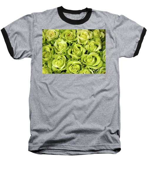 Chartreuse Colored Roses Baseball T-Shirt