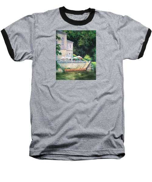 Chateau On The Lot River Baseball T-Shirt by Jill Musser