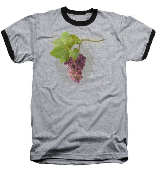 Baseball T-Shirt featuring the painting Chateau Pinot Noir Vineyards - Vintage Style by Audrey Jeanne Roberts