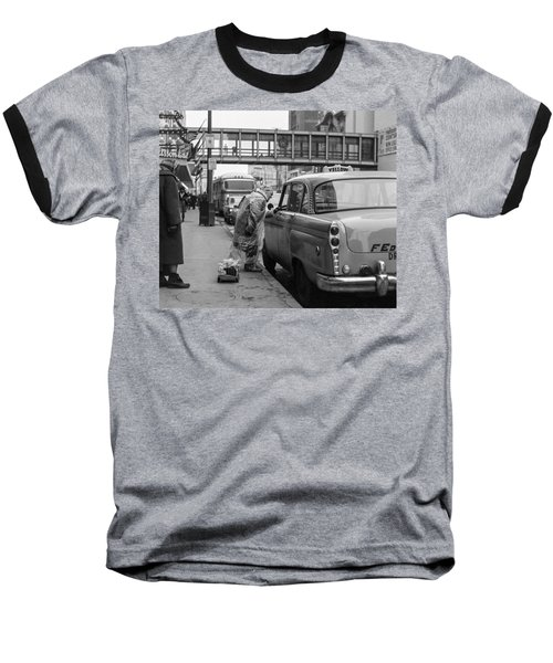Chatting Up A Cabby On 7th Street Baseball T-Shirt