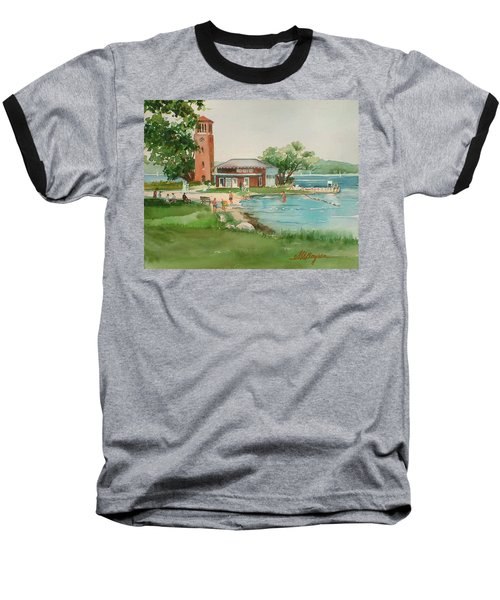 Chautauqua Bell Tower And Beach Baseball T-Shirt