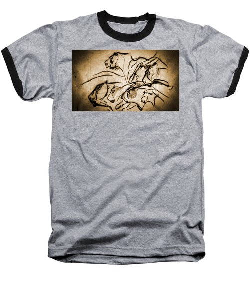 Chauvet Cave Lions Burned Leather Baseball T-Shirt