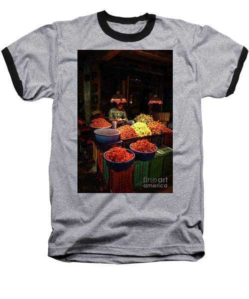 Baseball T-Shirt featuring the photograph Cheannai Flower Market Colors by Mike Reid