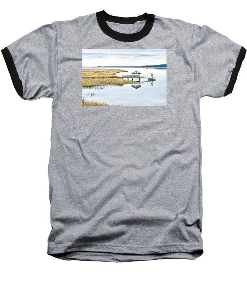 Chechessee Creek Dock Baseball T-Shirt by Scott Hansen