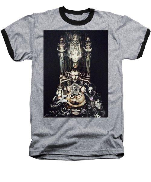 Checker Demon Baseball T-Shirt by Douglas Fromm