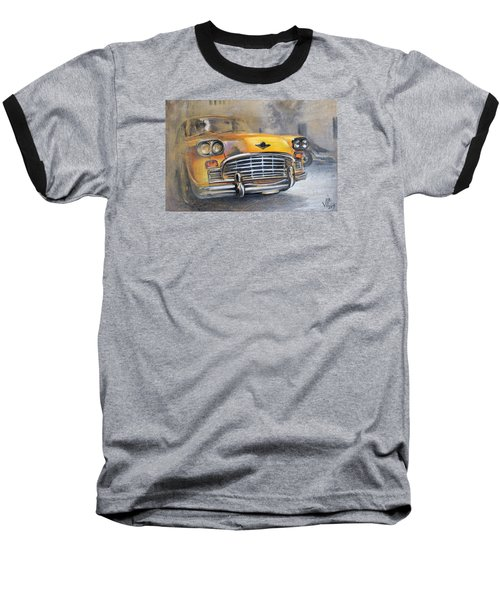 Checker Taxi Baseball T-Shirt by Vali Irina Ciobanu