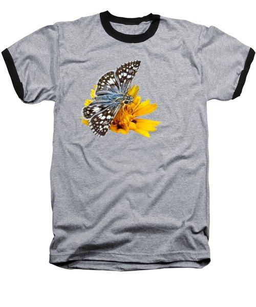 Checkered Skipper - Square - Transparent Baseball T-Shirt by Nikolyn McDonald