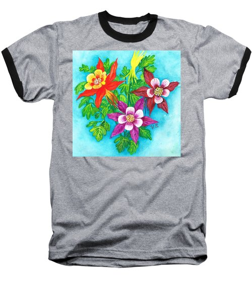 Baseball T-Shirt featuring the painting Cheeky Columbines by Val Stokes